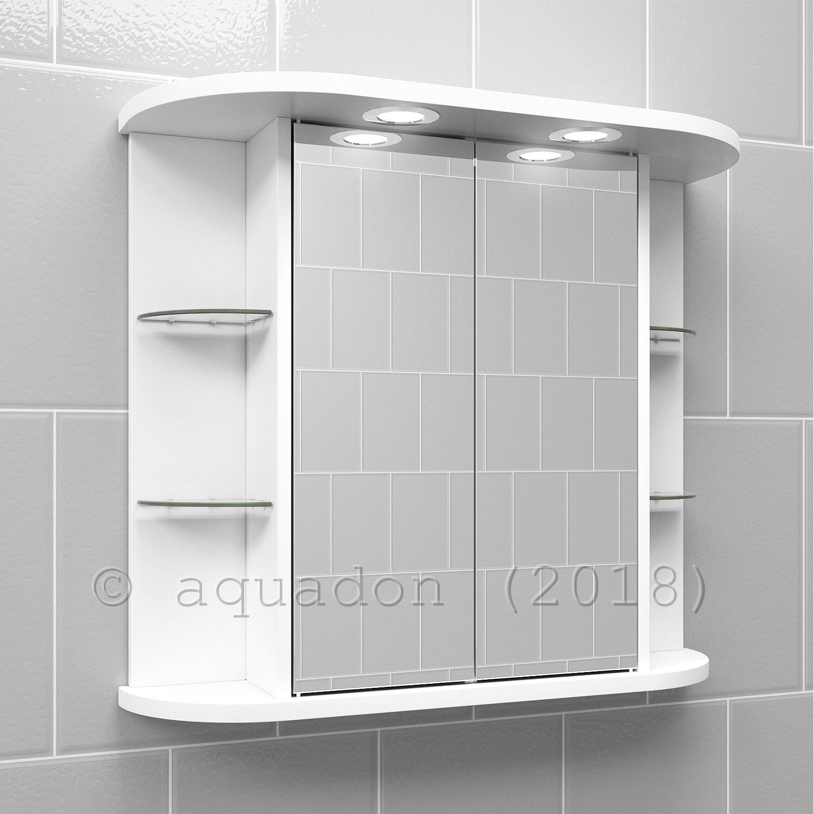 Bathroom Wall Double Door Mirror Cabinet White Shelves Light Shaving Socket Ebay