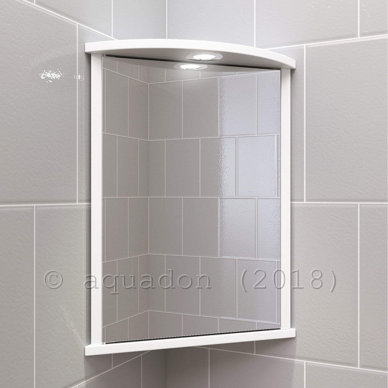Bathroom Wall Corner Mirror Cabinet White Single Door