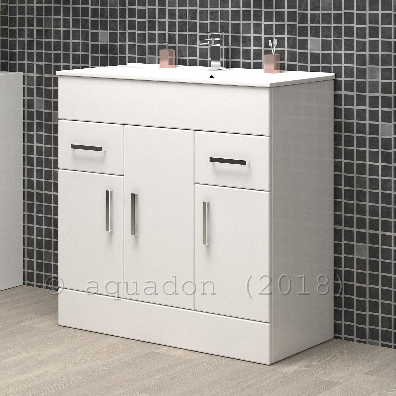 Bathroom Vanity Unit Basin 750mm Turin Gloss White Soft Close Doors Drawers Ebay