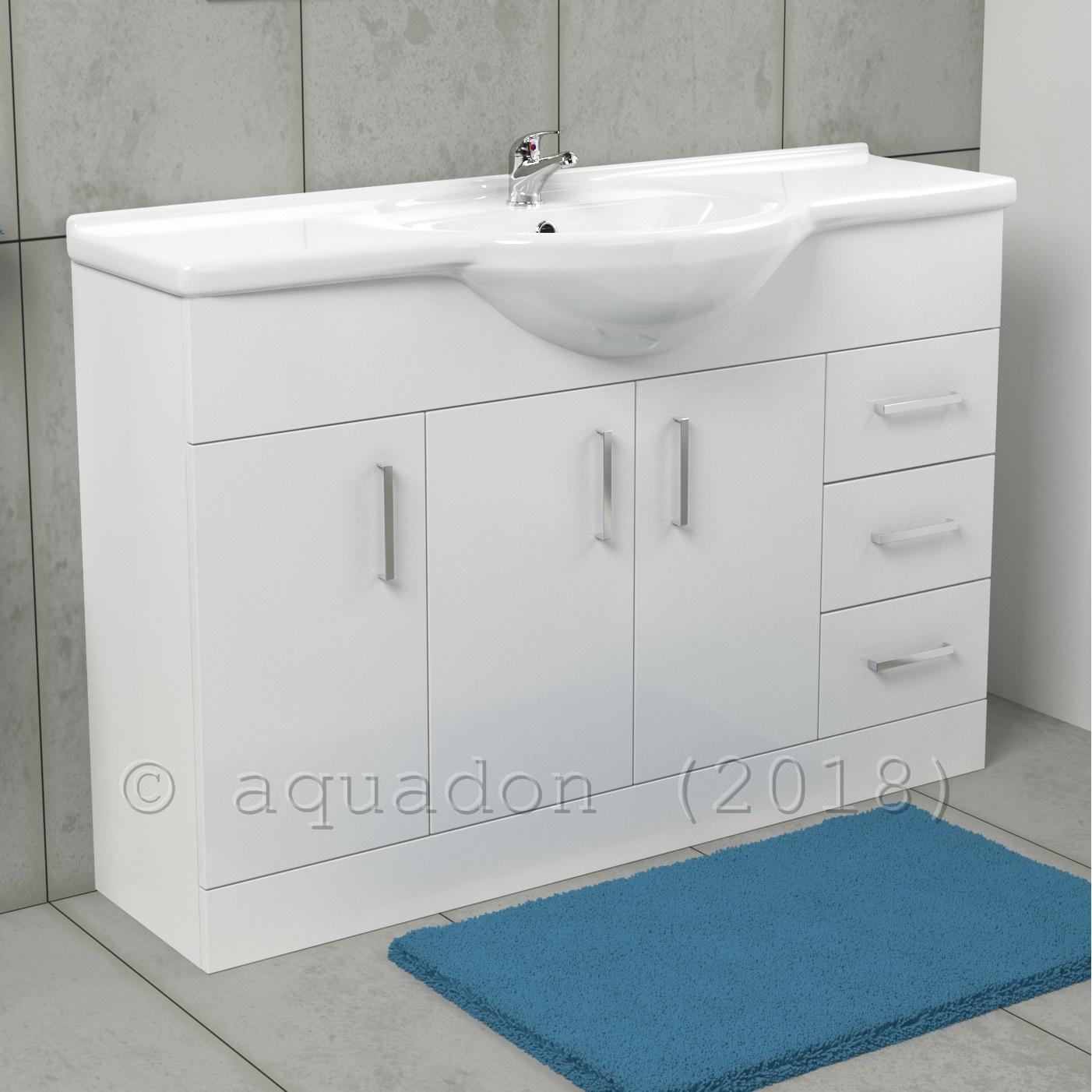 bathroom cloakroom gloss white vanity unit basin storage. Black Bedroom Furniture Sets. Home Design Ideas