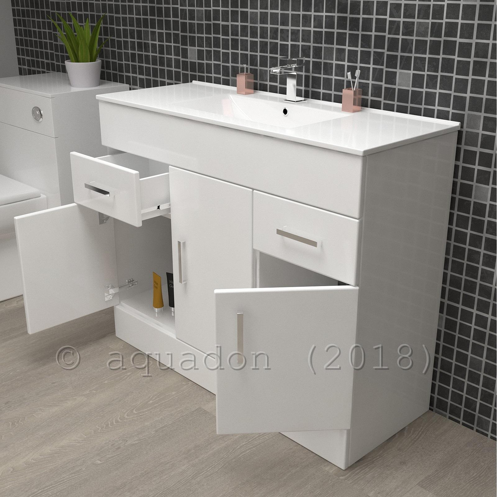 Minimalist Bathroom Vanity: Turin Bathroom Vanity Unit Square Minimalist Design White