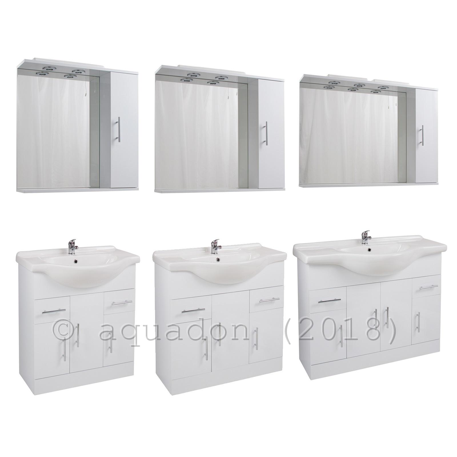 Bathroom Vanity Unit Furniture Gloss White, Illuminated Mirror Cabinet Option