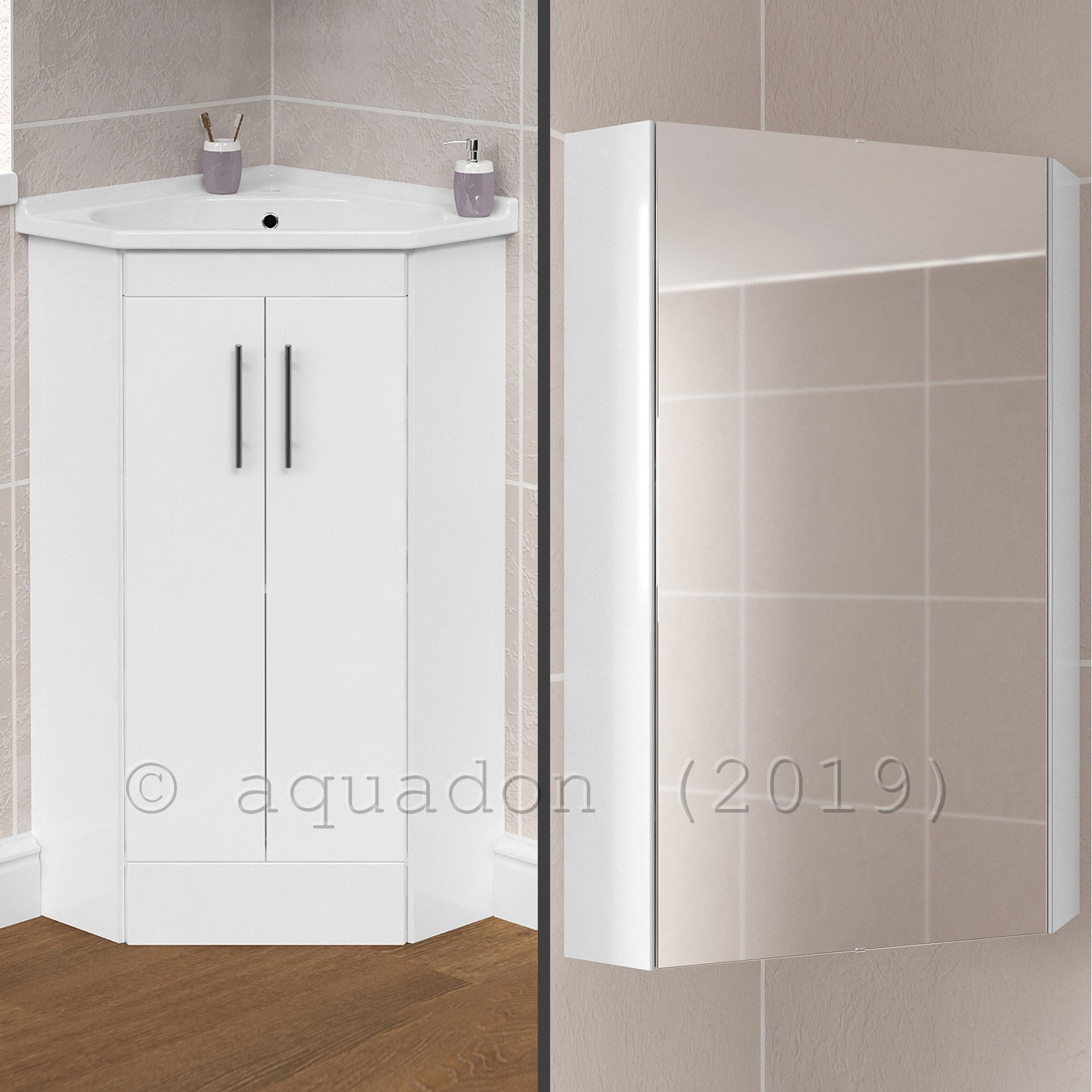 Bathroom Cloakroom 2 Door Corner Vanity Storage Basin Sink Taps Mirror Cabinet Ebay