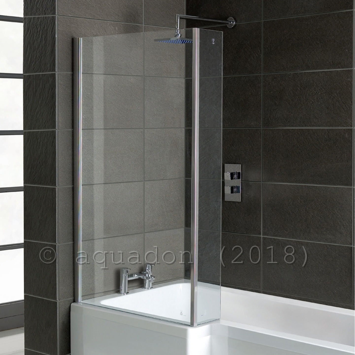 1700 L shape square shower bath with panels, screen & waste | eBay