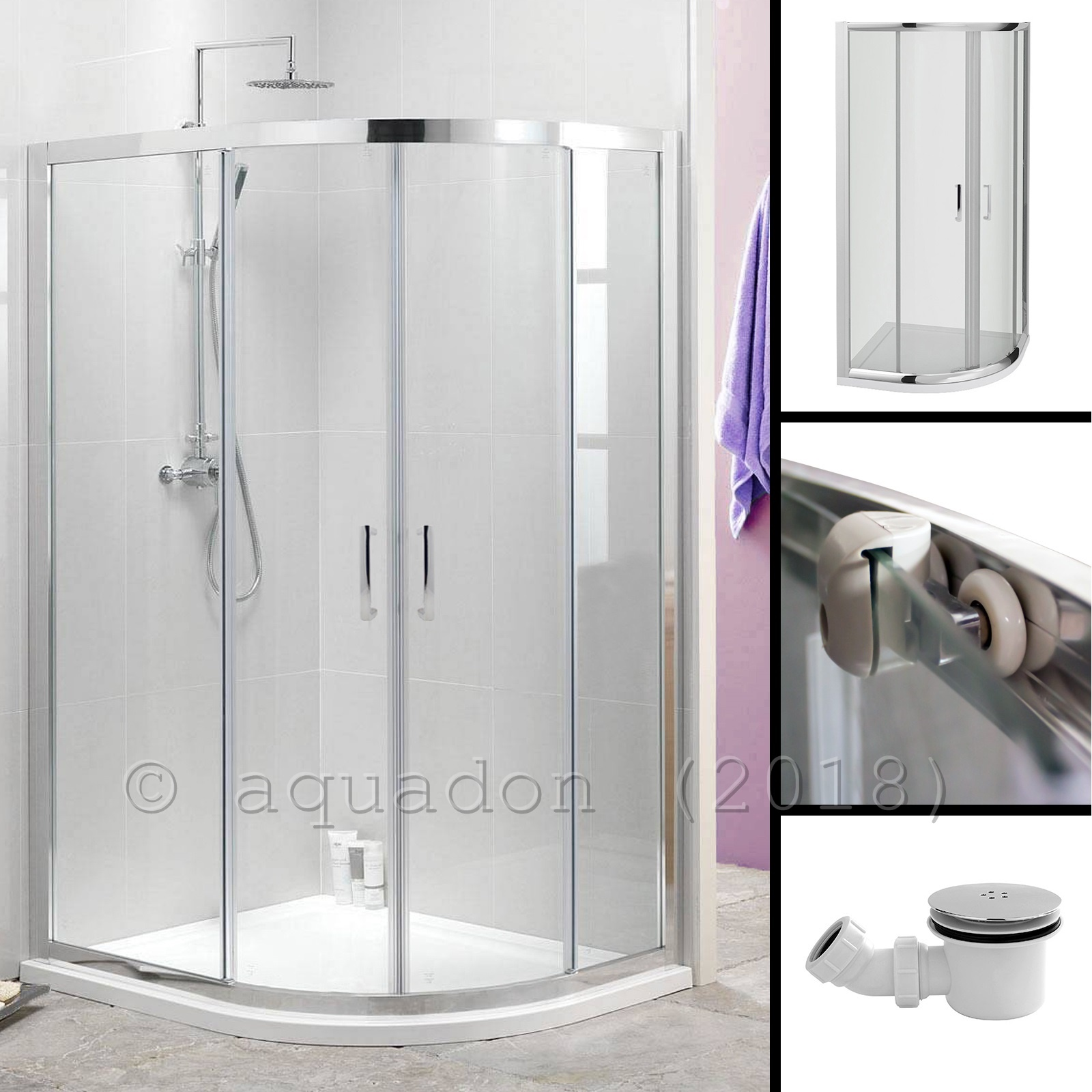 Quadrant Corner Shower Enclosure Cubicle With Stone Tray