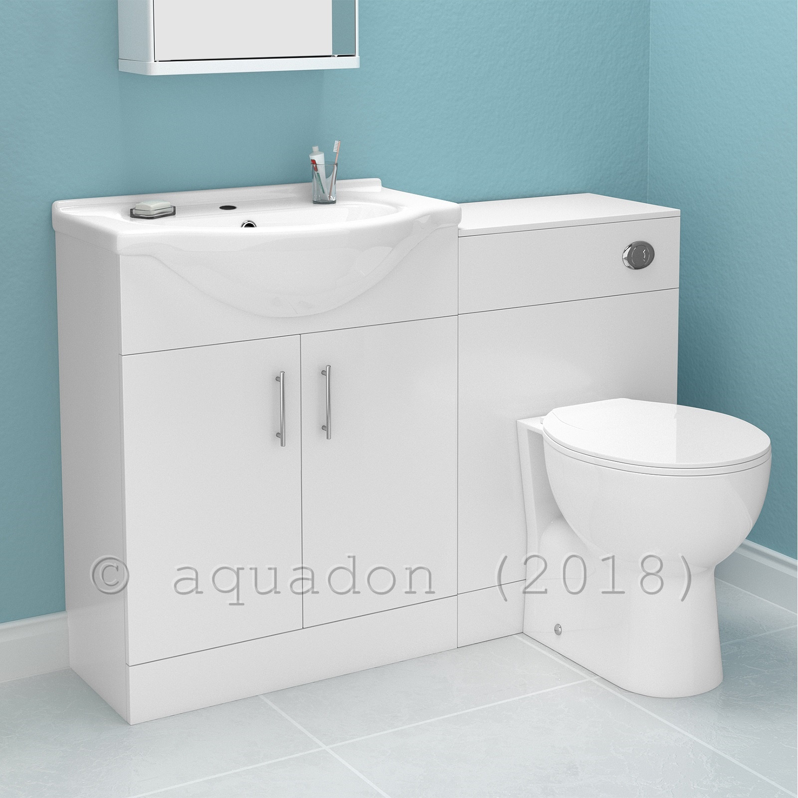 Bathroom Vanity Cabinet With WC Toilet White Furniture ...