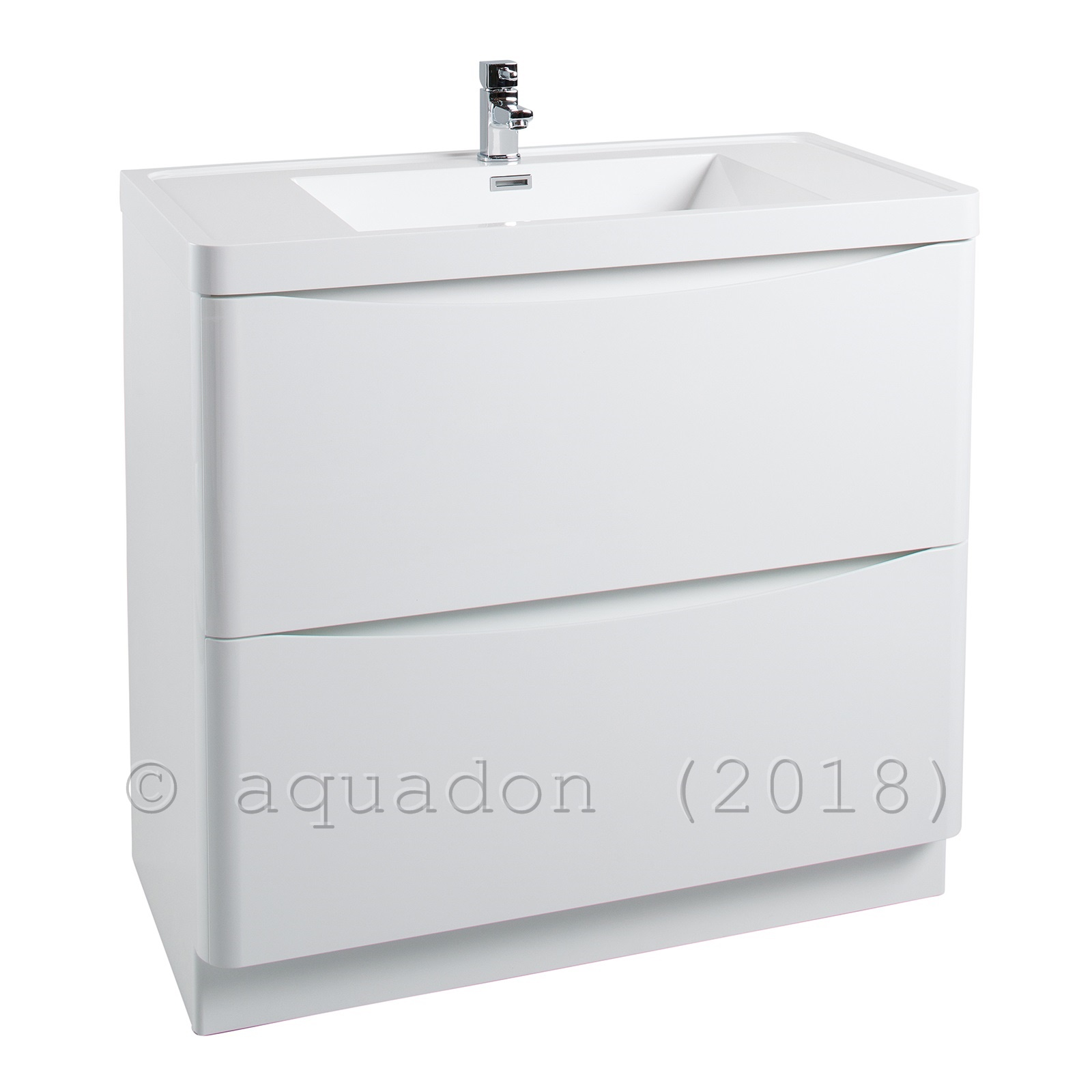 Bali Modern White Bathroom Vanity Unit Basin Sink 2 Drawer ...