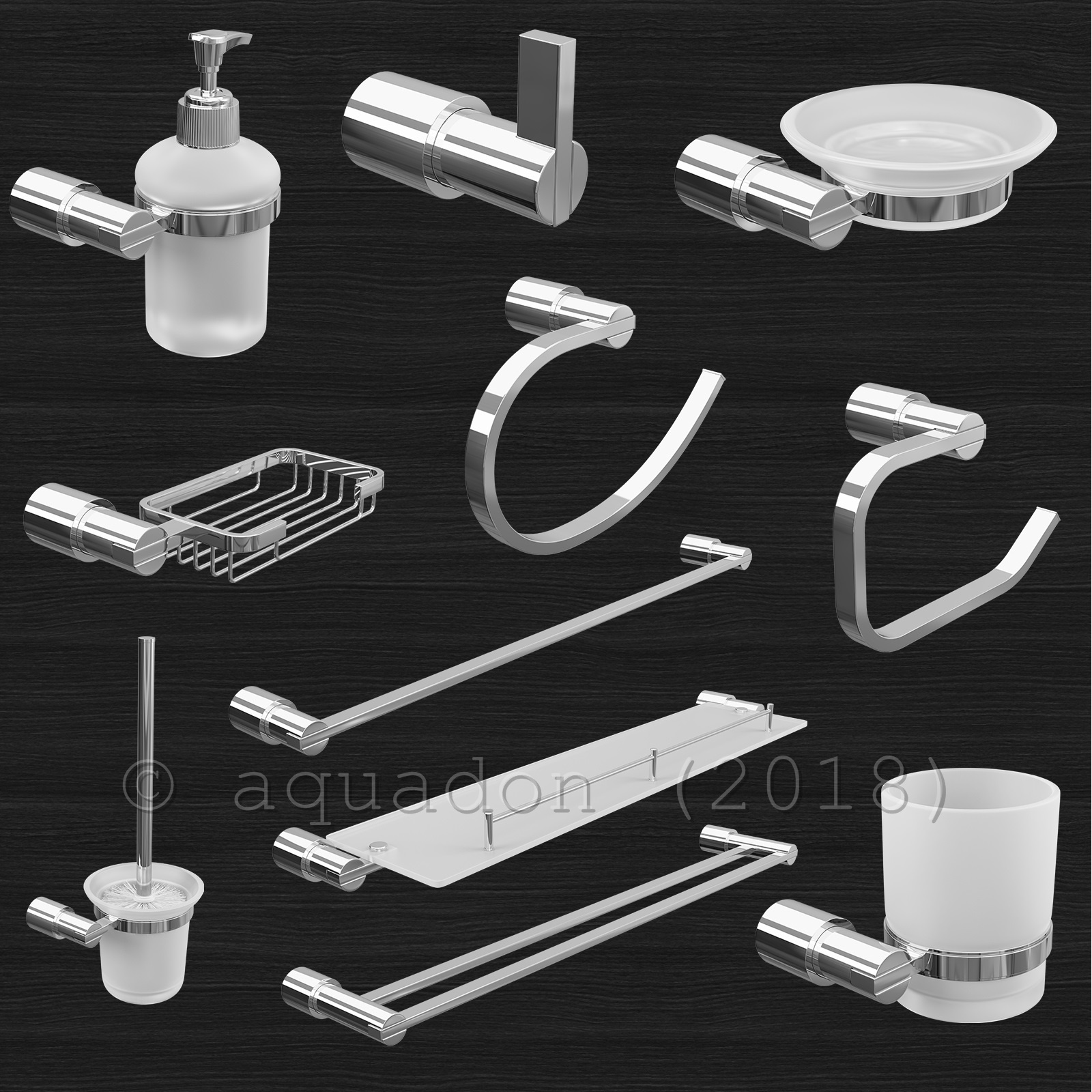 Details about Lilly Modern Bathroom Wall Accessories Set Polished Chrome