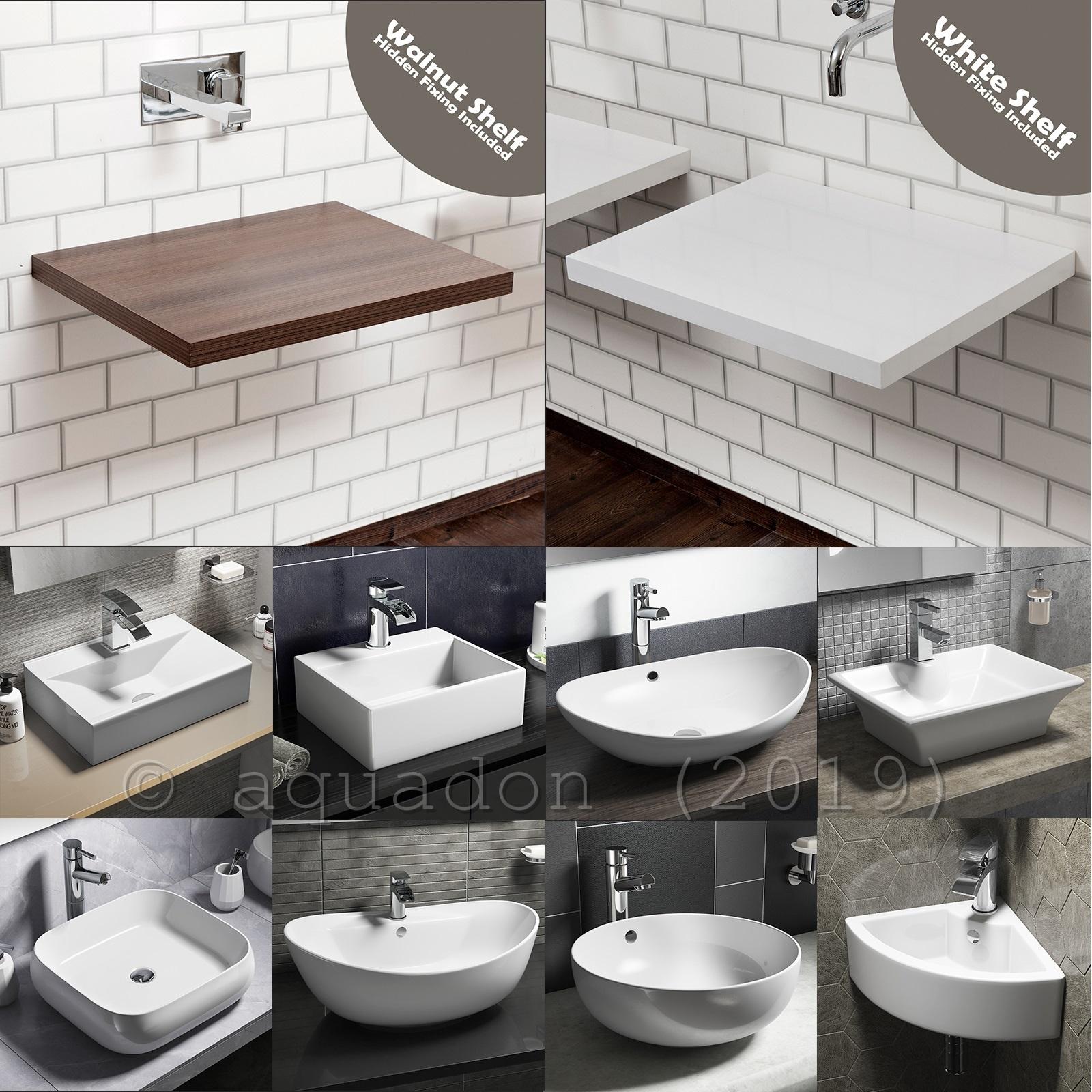 Picture of: Vessel Basin Sink Floating Shelves Shelf Bathrooms White Gloss Solid Stone Resin Ebay
