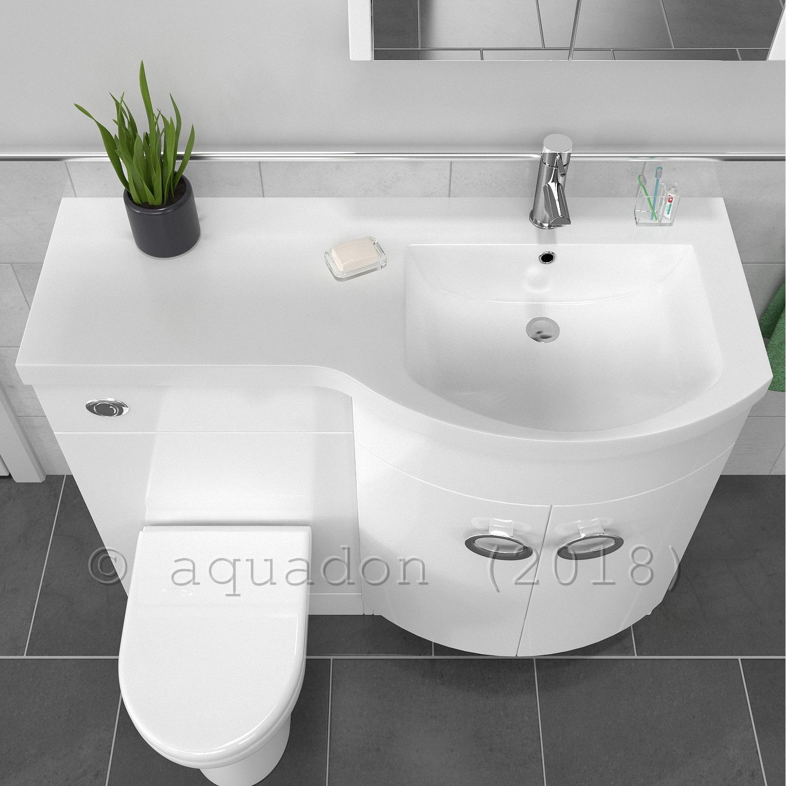 Bathroom Vanity Unit D Shaped Basin Wc Black Or White Curved Combination 1100mm Ebay
