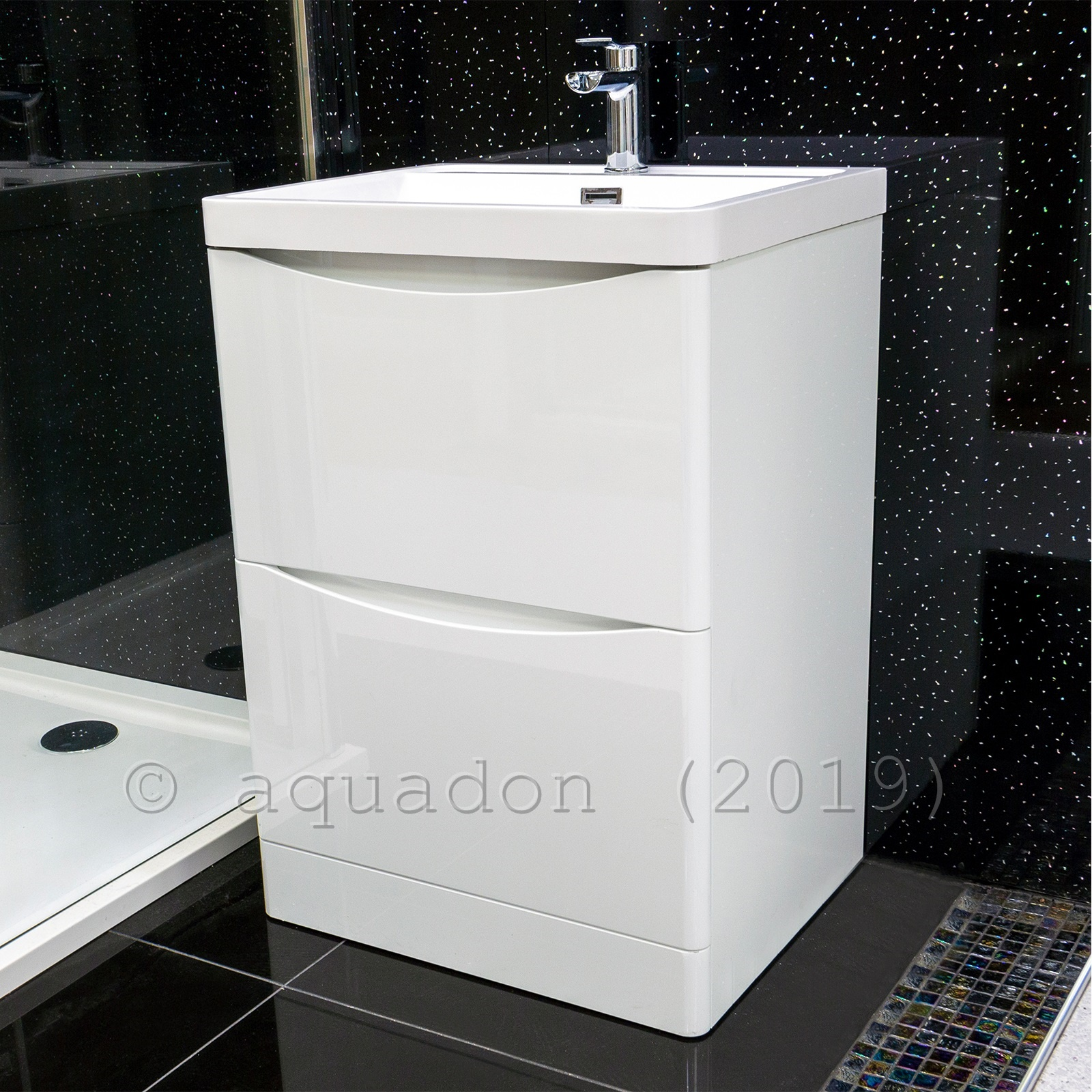 Picture of: Nrg 600mm Gloss White 2 Drawer Floor Standing Bathroom Cabinet Storage Furniture Vanity Sink Unit Free Tap And Waste Home Kitchen Wash Stands Vanity Units