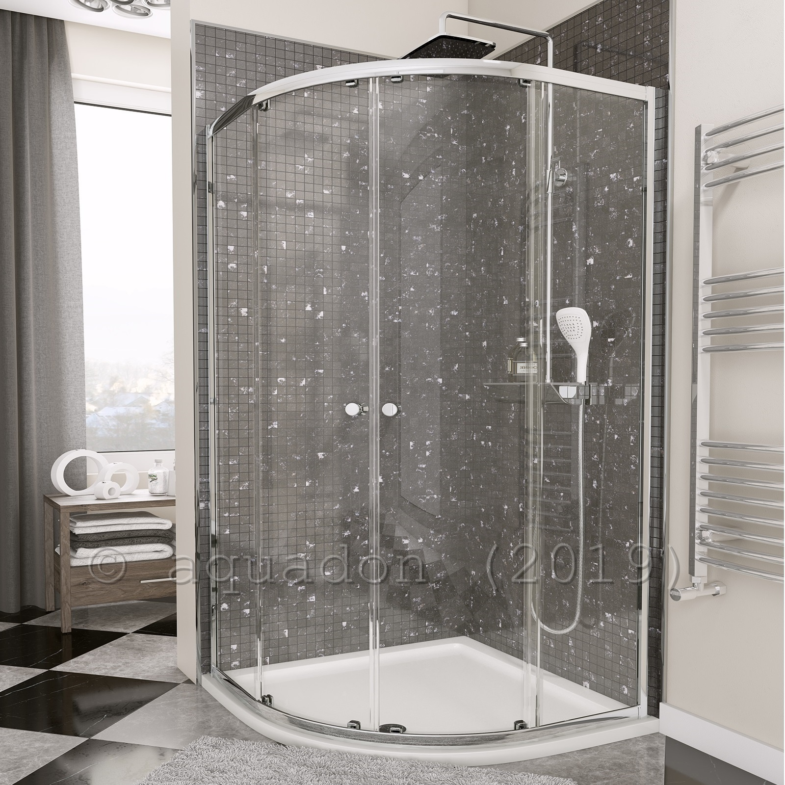 Corner Shower.Quadrant Corner Shower Enclosure Cubicle With Stone Tray Waste