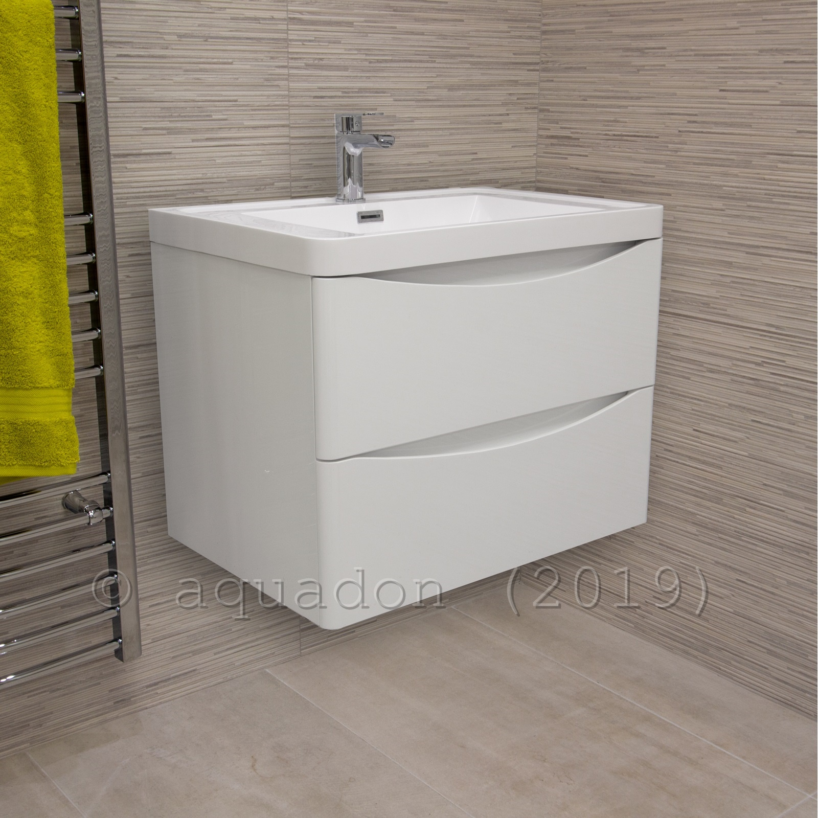 Bathroom Vanity Unit Modern Basin Sink Unit 2 Drawer Storage Cabinets Ebay