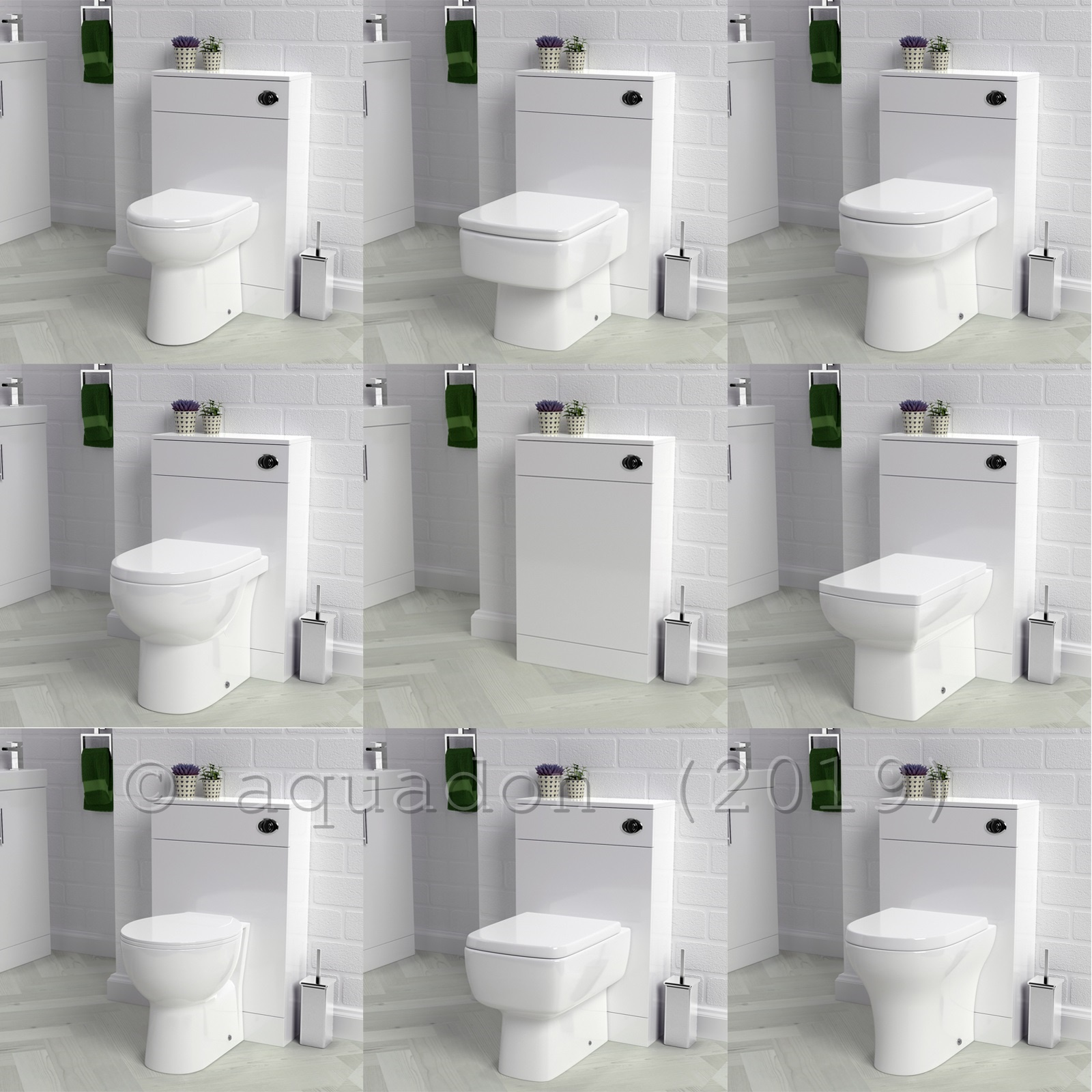 BTW Back to Wall 500mm Gloss White Toilet Unit WC Opt Pan Cistern