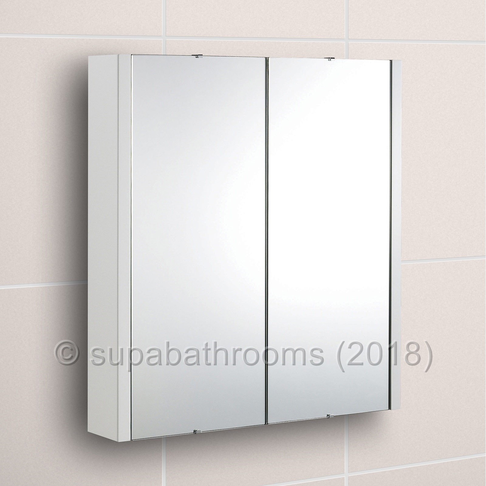 pretty nice 8313f a3bc6 Details about Lux 600 Mirror Bathroom Cabinet Gloss White 2 Door Minimalist  Wall Hung