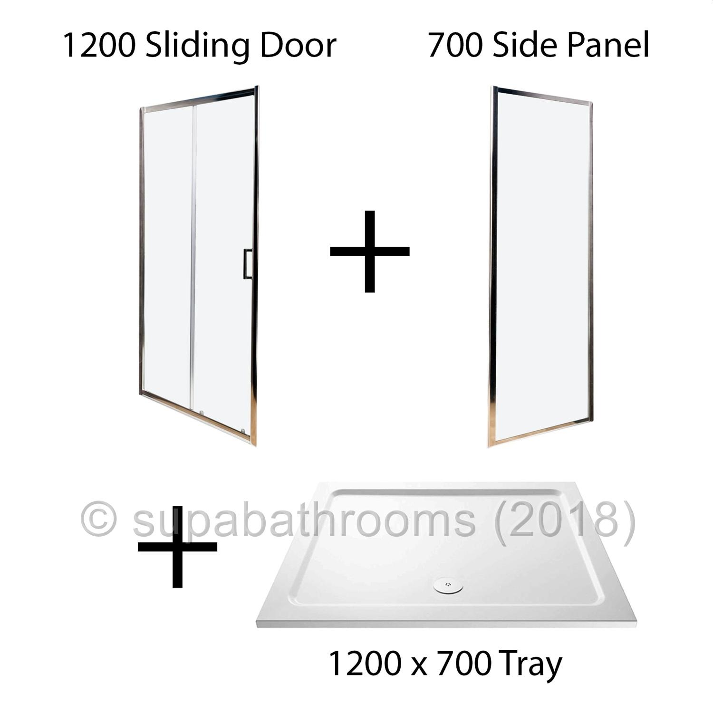 Floor Standing Bath Shower Mixer Chrome Sliding 6mm Shower Door Enclosure Cubicle Stone