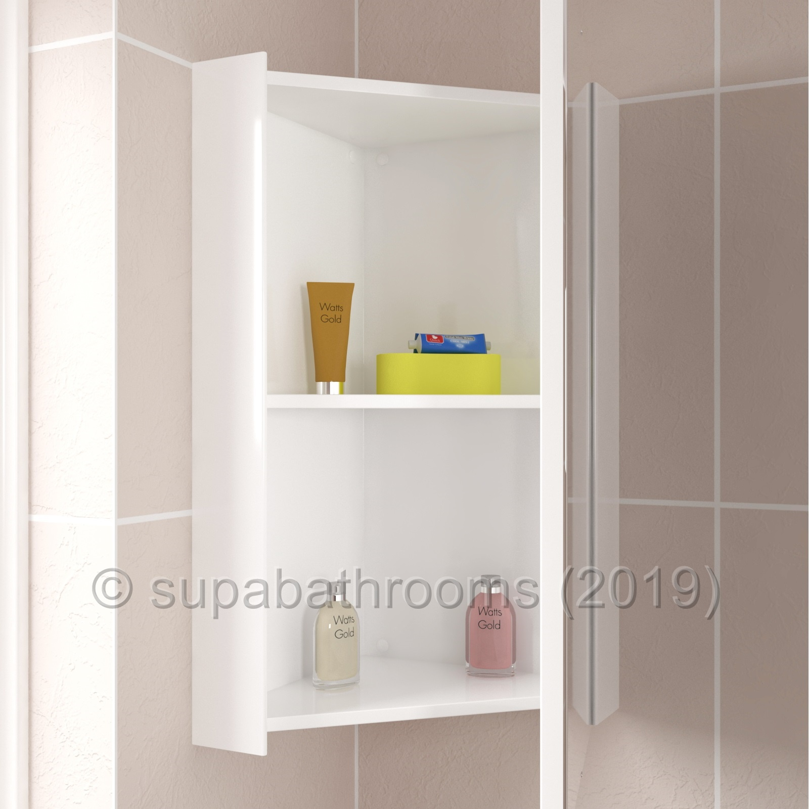Corner Bathroom Mirror Storage Cabinet High Gloss White Ebay