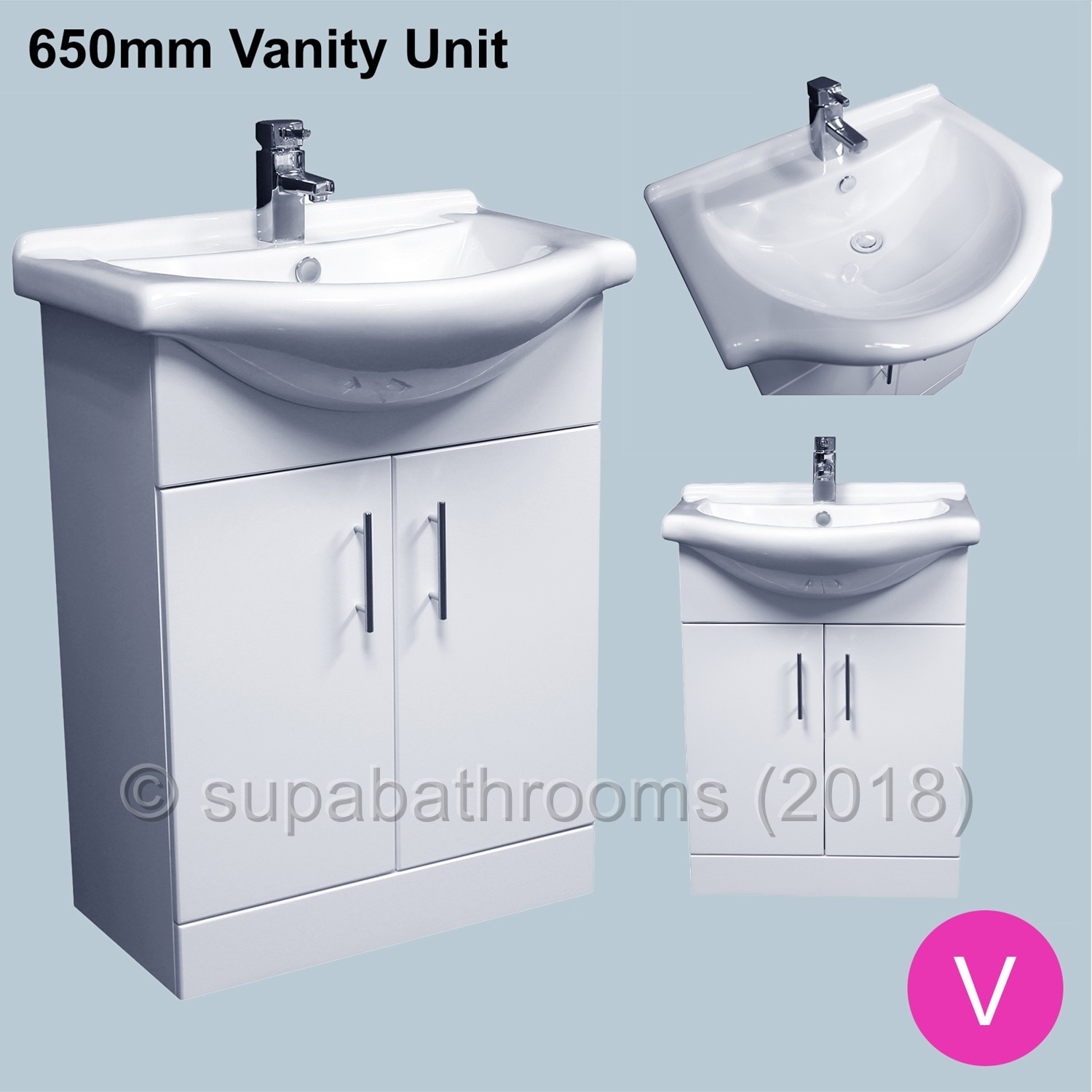 Venice Bathroom/Cloakroom White Vanity Unit Basin Sink Storage ...