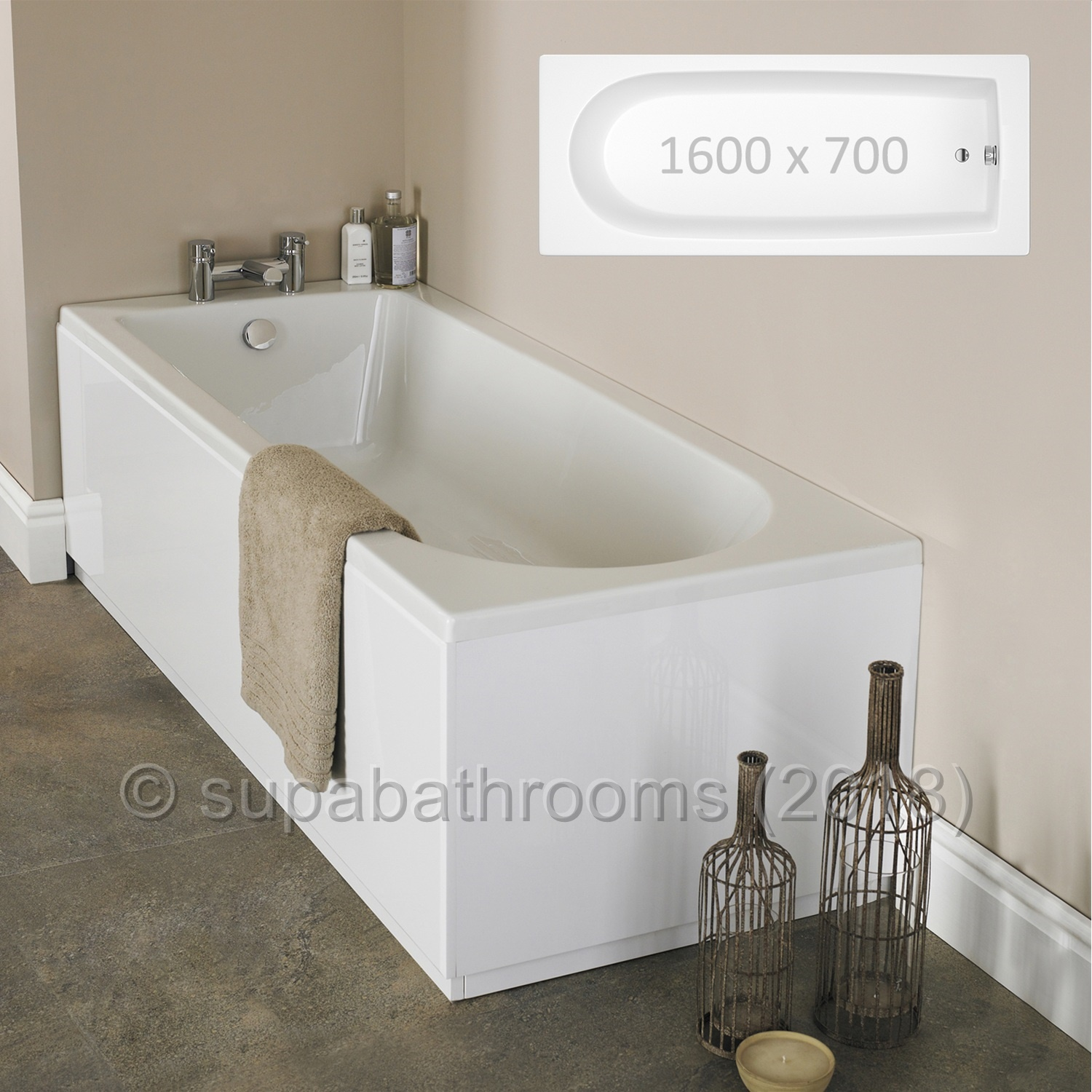 1600x700 Barmby Single Ended Fibreglass Encapsulated Acrylic Bath ...