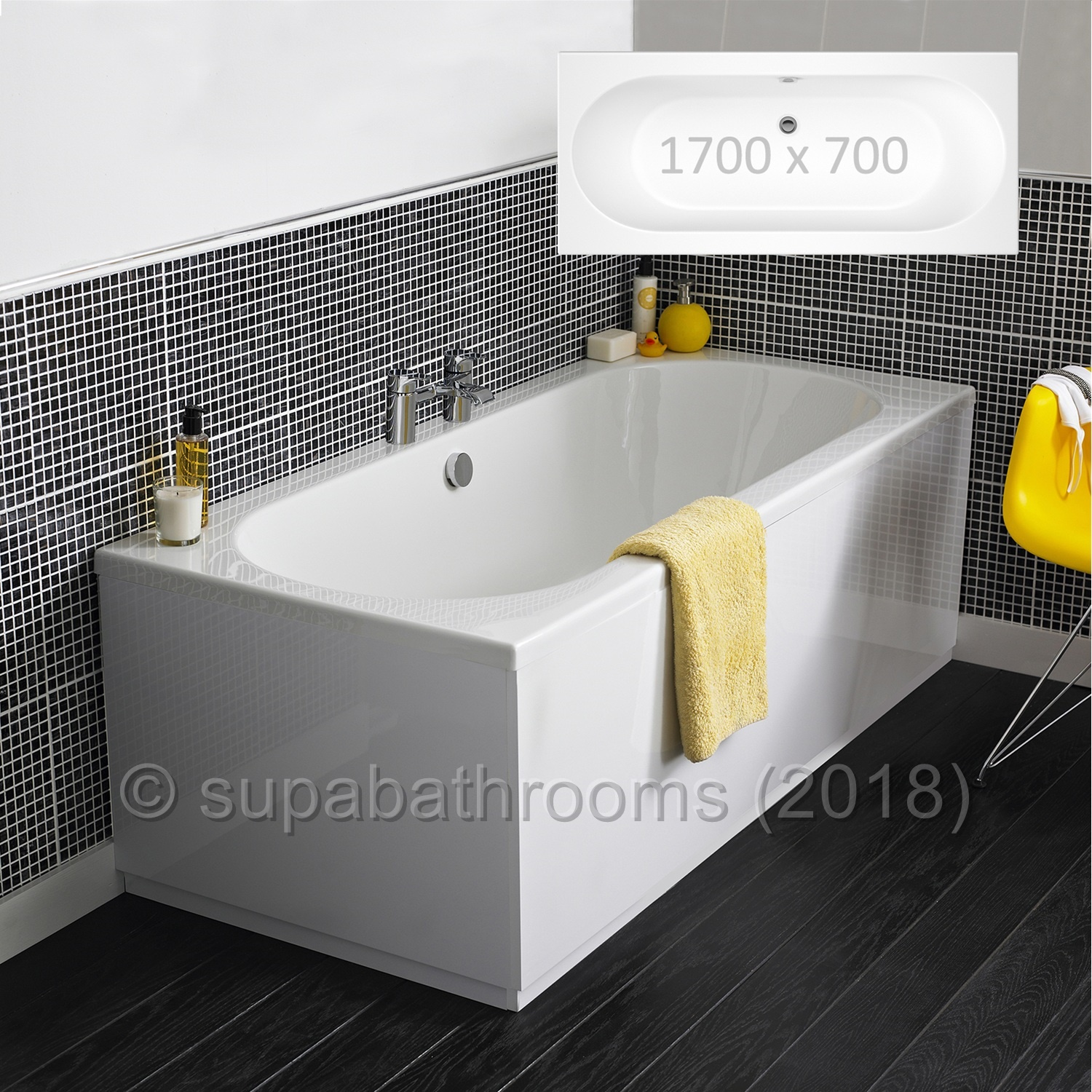 1700x700 Otley Double Ended Fibreglass Encapsulated Acrylic Bath ...