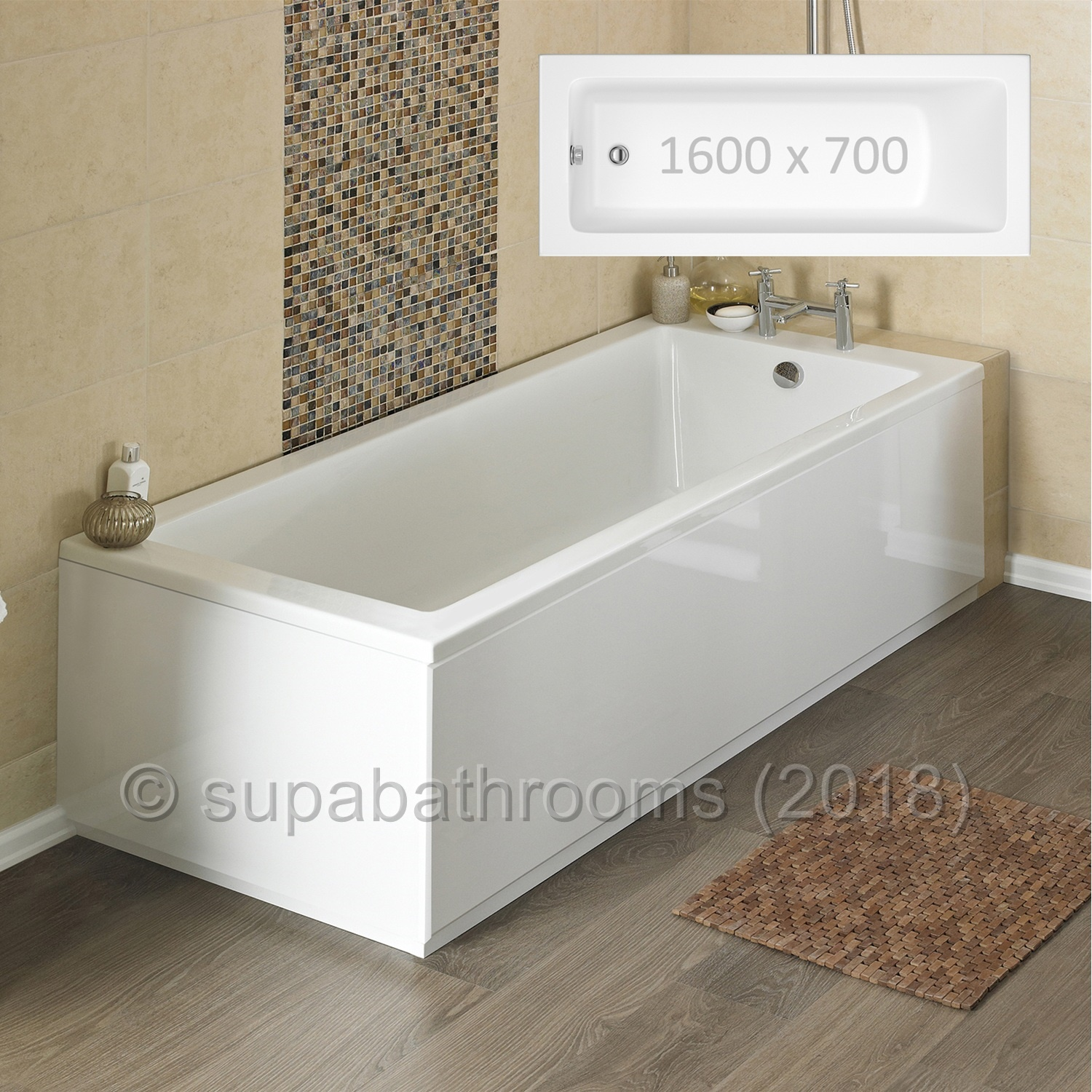 1600x700 Linton Single Ended Fibreglass Encapsulated Acrylic Bath ...