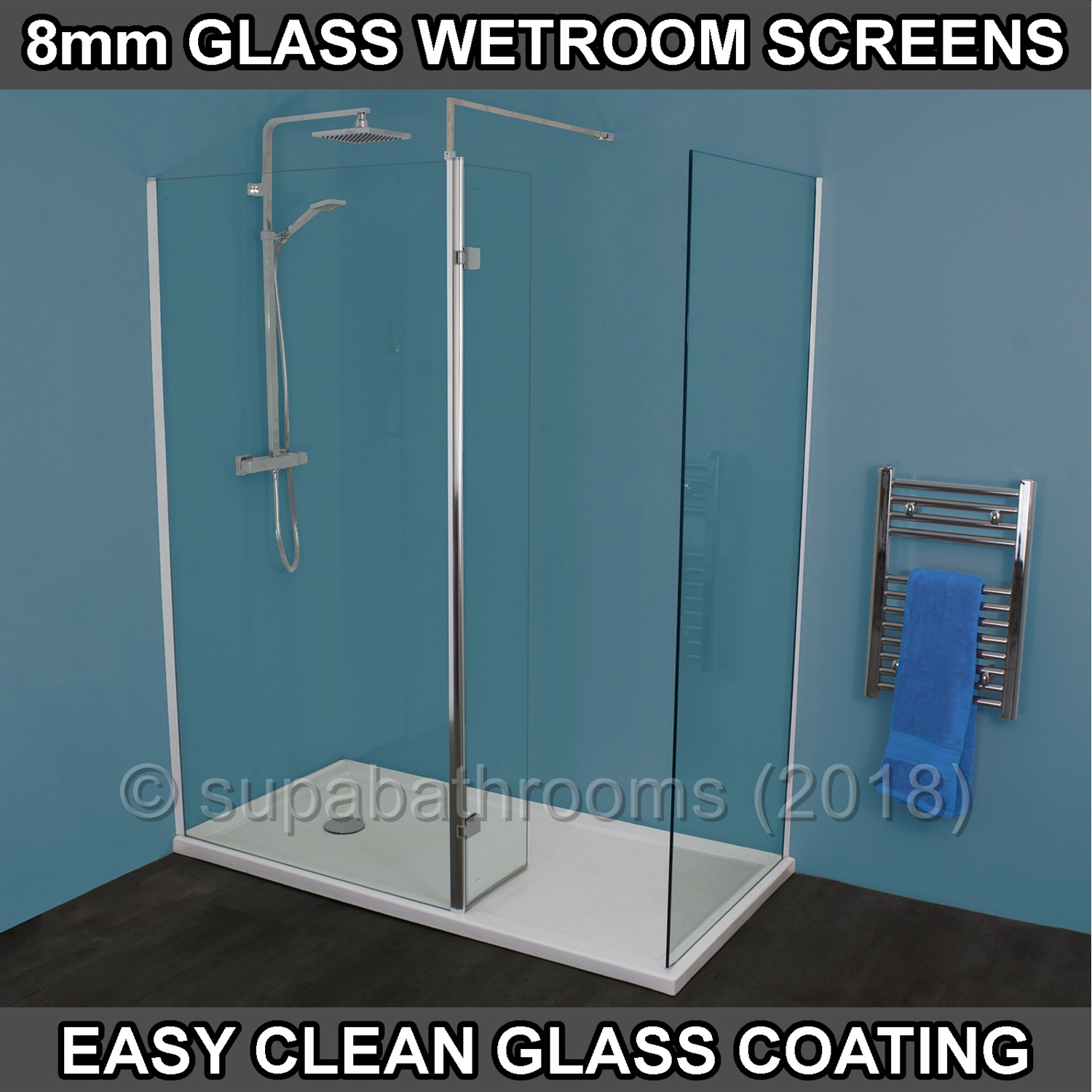 Metro Walk In Wet Room Shower Enclosure 8mm Glass Easy Clean Screen ...