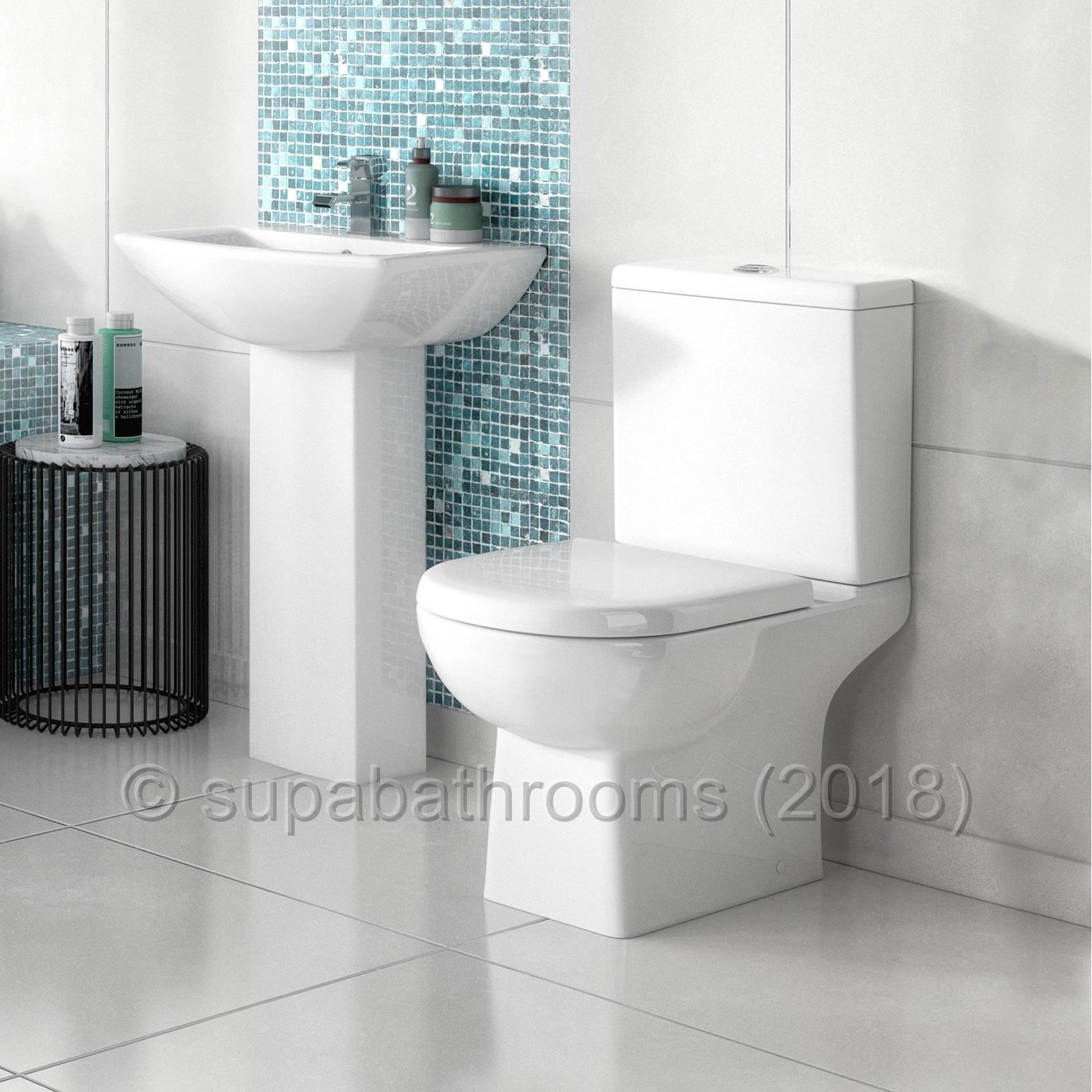 Asselby 4 Piece Bathroom Modern Suite Toilet WC Basin, Pedestal ...