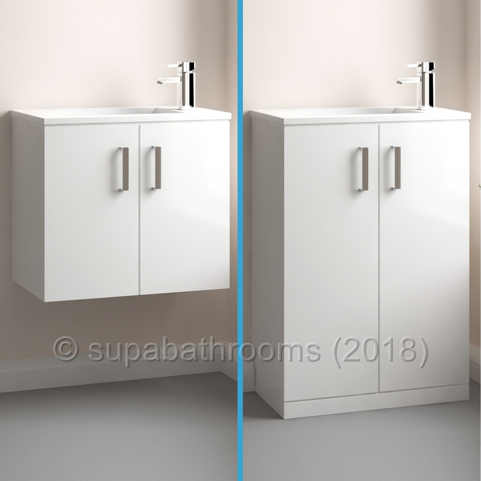 Gloss White Minimalist 550 Vanity Unit Wall Hung Floor Tap