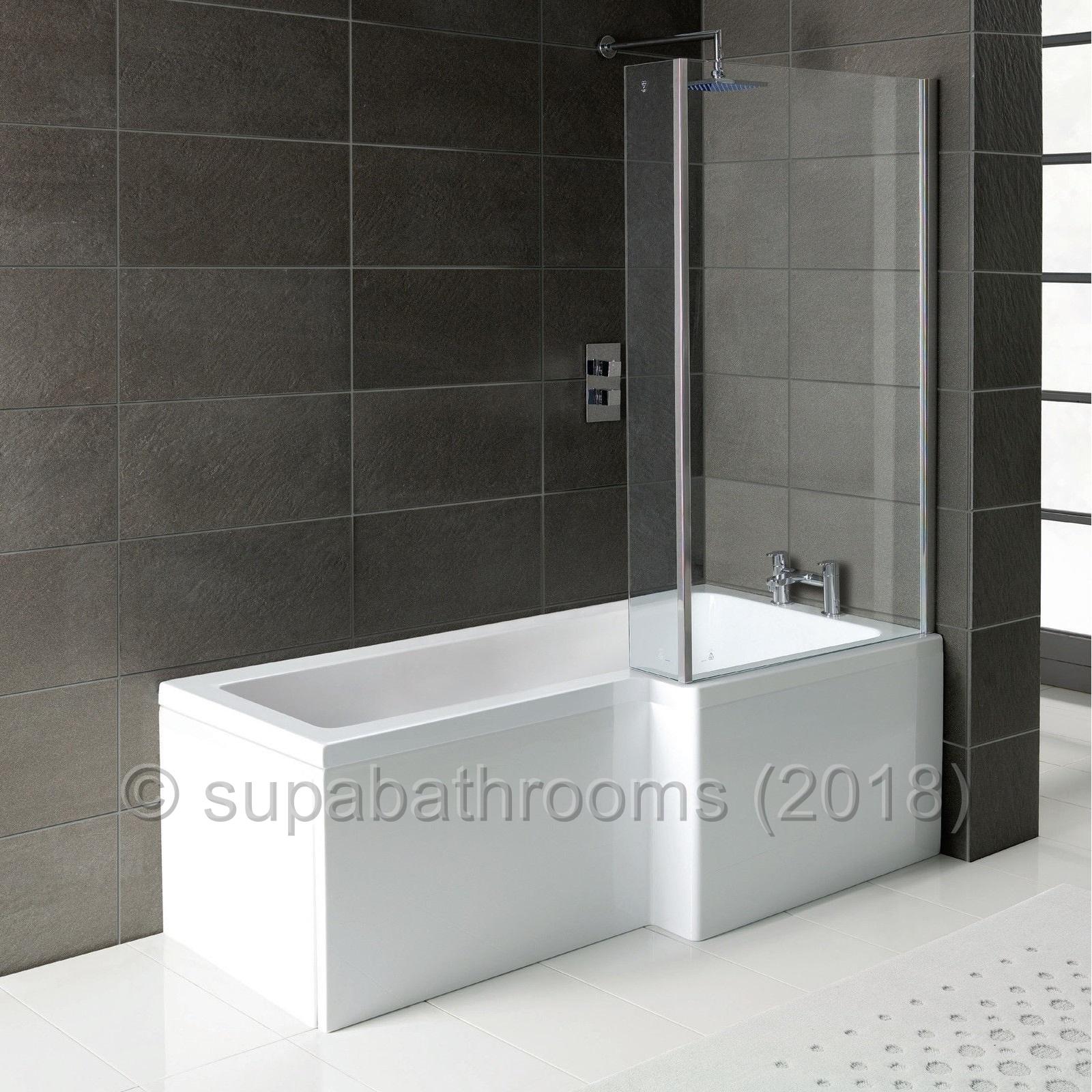 L Shape Square 1700 Shower Bath Panels, Glass Screen & Bath Waste | eBay