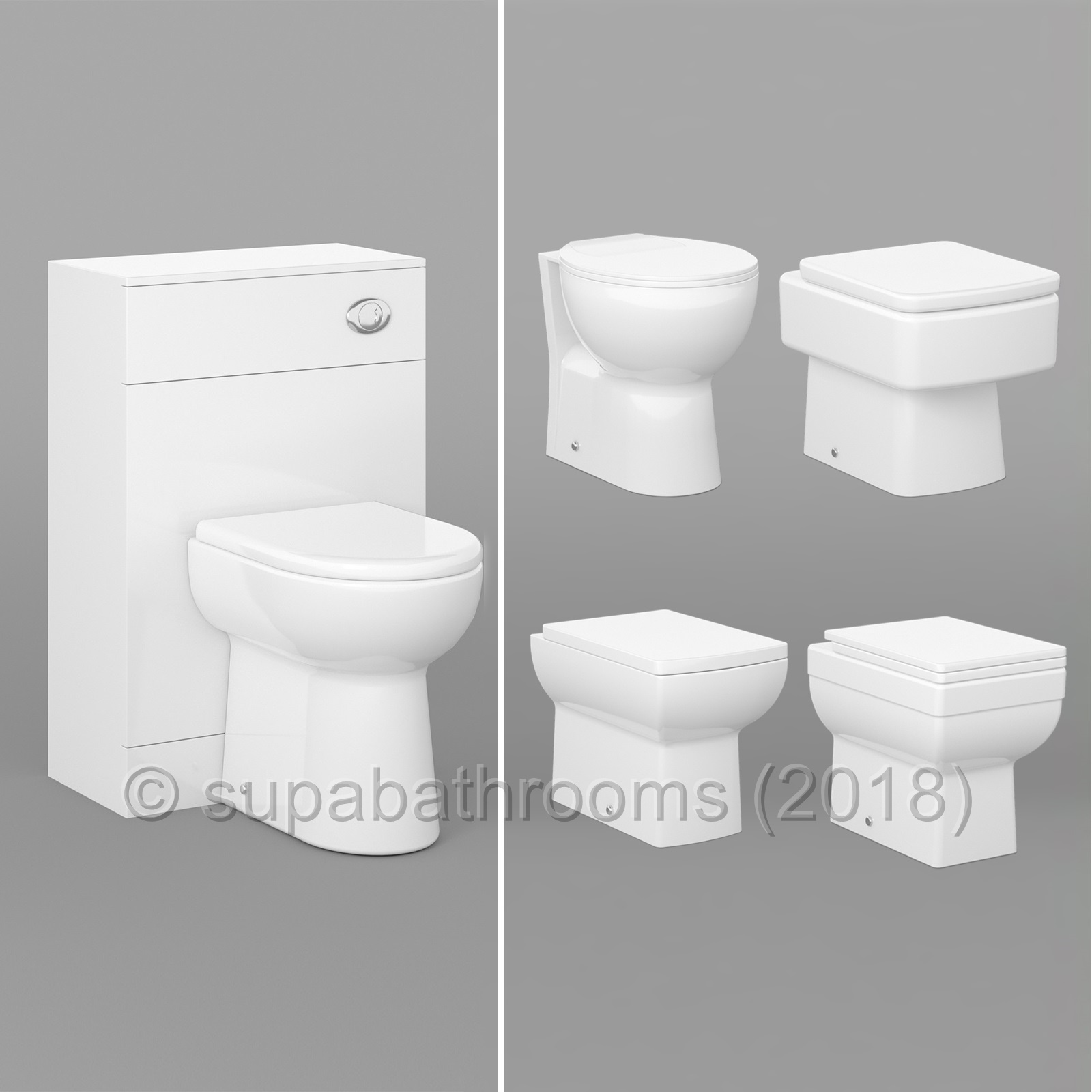 Bathroom Vanity Back to Wall Unit, WC Toilet Pan, Cistern & Seat ...