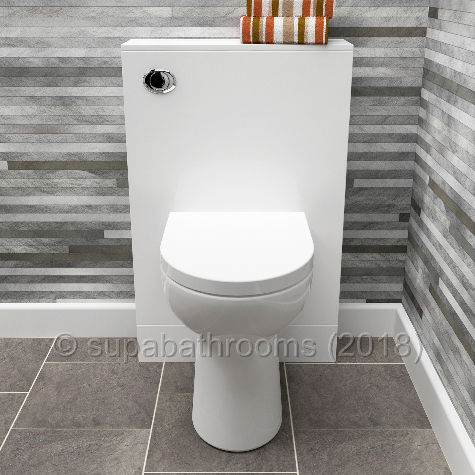 Slimline Back To Wall Btw Toilet Unit 490mm Gloss White Wc