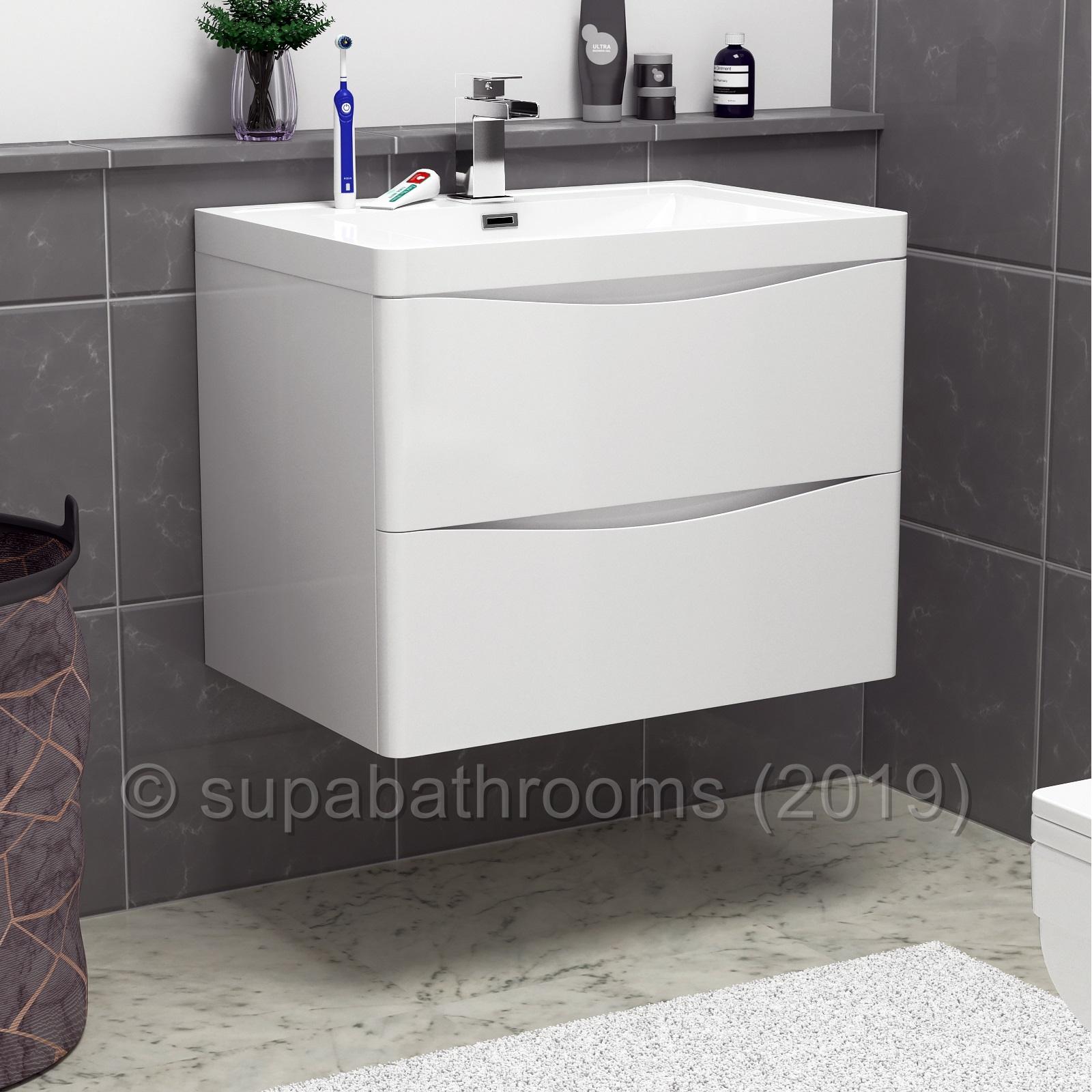 Bathroom Vanity Unit Storage With Sink High Gloss Cabinet 2 Drawers Ebay